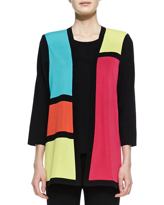 Rosalie 3/4-Sleeve Colorblock Cardigan, Knit Tank & Boot-Cut Knit Pants, Petite