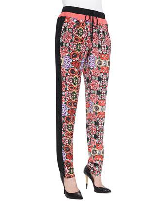 Malone Floral-Print Silk Pants