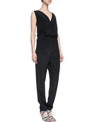 Mara Silk V-Neck Jumpsuit