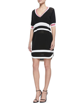 Miles Silk Zip-Front Jacket & Striped Sporty Mesh Dress