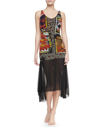 Printed Sheer-Overlay Swimdress & Sheer Arch-Hem Sarong