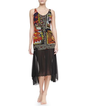 Printed Sheer-Overlay Swimdress & Sheer Arch-Hem Sarong