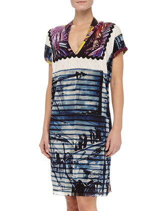 Mixed-Print Short-Sleeve Coverup, 668 Marine