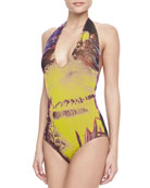 Palm Leaf-Print Halter One-Piece Swimsuit, Viola