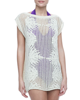 Palmier Cotton Crochet Tunic, Cream