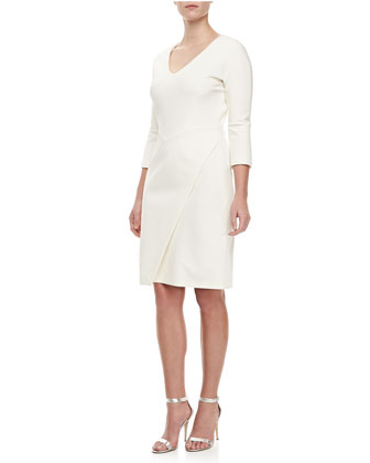 Jersey Draped-Skirt Dress, Ivory