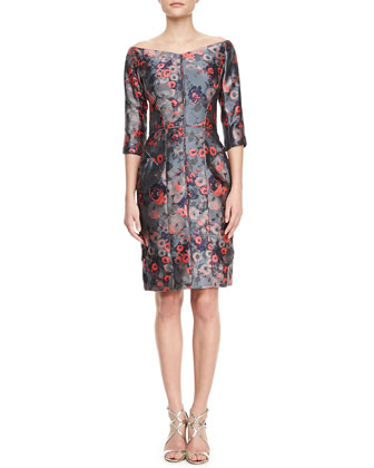 Off-the-Shoulder Floral Jacquard Dress