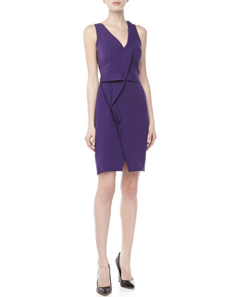 Sleeveless Asymmetric Pleated Dress, Violet