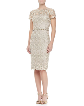 Short-Sleeve Lace Beaded Cocktail Dress