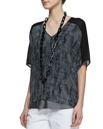 Printed Silk V-Neck Top, Women's