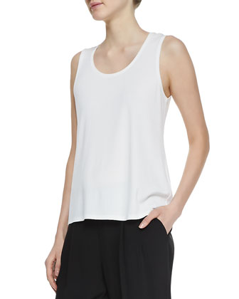 Stretch Silk Jersey Tank, Soft White