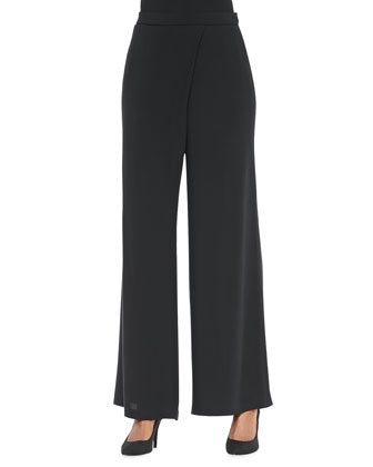 Silk Faux-Wrap Wide-Leg Pants, Black