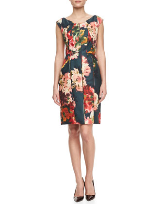 Floral-Print Gazar Cocktail Dress