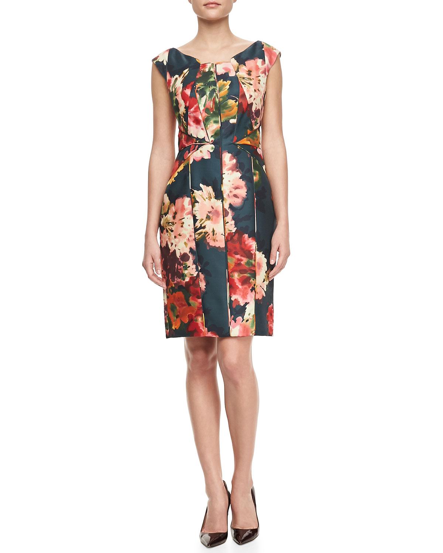 Womens Floral Print Gazar Cocktail Dress   J. Mendel   Floral (6)