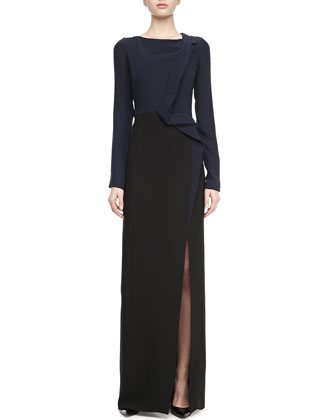 Long-Sleeve Slit-Front Gown, Navy/Black
