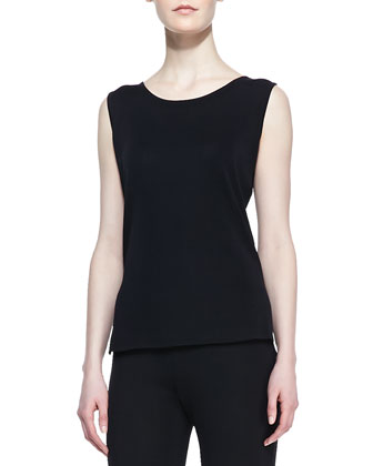 Slim Scoop-Neck Tank, Black