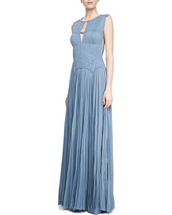 Sleeveless Hand-Pleated Gown, Heron Blue