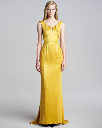 Sleeveless Crepe-Satin Gown