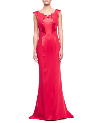 Crepe-Satin Gown, Raspberry