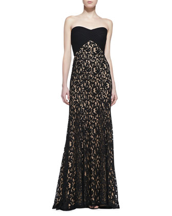 Strapless Lace Gown, Black/Nude
