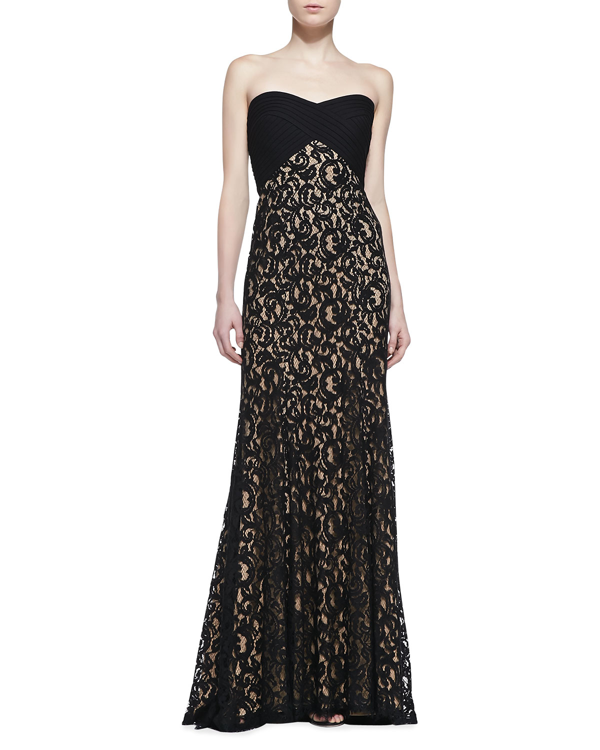 Womens Strapless Lace Gown, Black/Nude   Tadashi