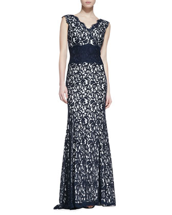 Sleeveless Tucked Waist Lace Gown, Navy/Ivory
