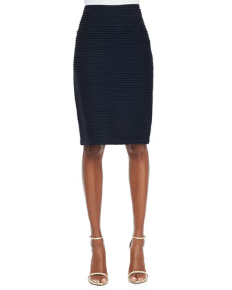 Pintucked Pencil Skirt, Navy