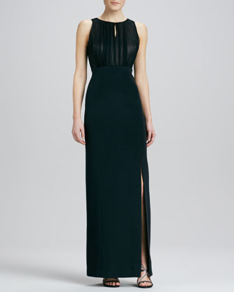 Sleeveless Jewel-Neck Gown