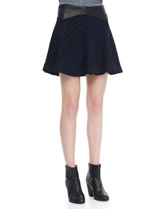 Basha Flared Leather-Waist Skirt