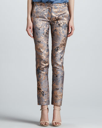 Metallic Cloque Narrow Pants