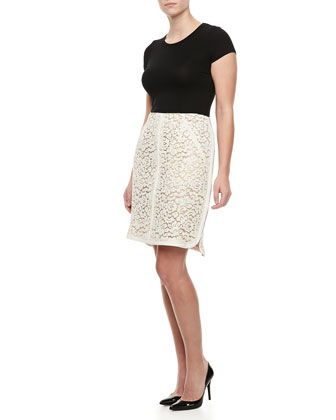 Lace Slash-Pockets Skirt, Ivory
