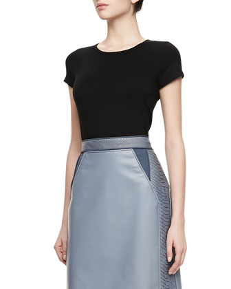 Python-Inserts & Lambskin Pencil Skirt