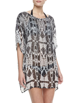 Beaded Batik Chiffon Cover-Up Top
