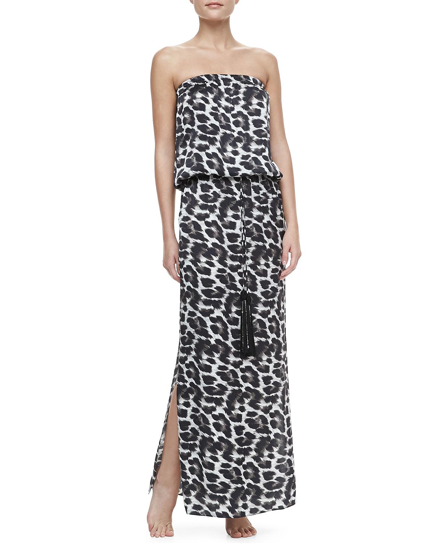 Womens Leopard Strapless Tassel Coverup Maxi Dress   Marie France Van Damme
