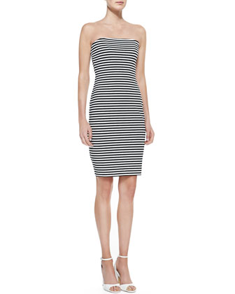 Strapless Striped Sheath Dress, Black/White