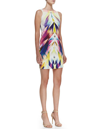 Sleeveless Bateau-Neck Geo-Print Dress, Multicolor