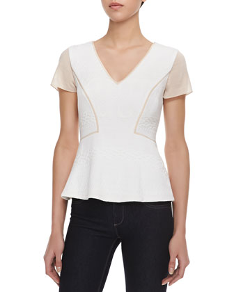 Mixed-Fabric Peplum Top