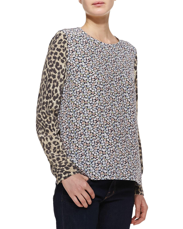 Womens Liam Contrast Print Long Sleeve Shirt   Equipment   Peacoat (LARGE/8)