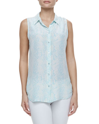 Colleen Snake-Print Silk Sleeveless Shirt
