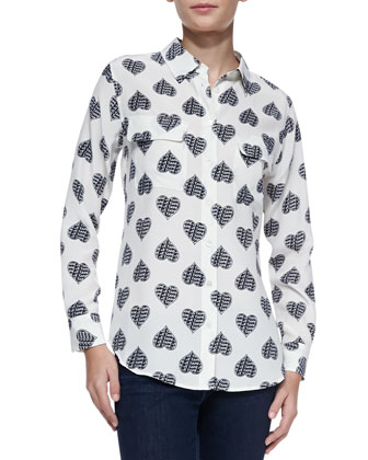 Slim Signature Heart-Print Silk Blouse