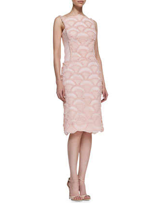 Sleeveless Lace & Sequin Pattern Cocktail Dress, Antique Pink
