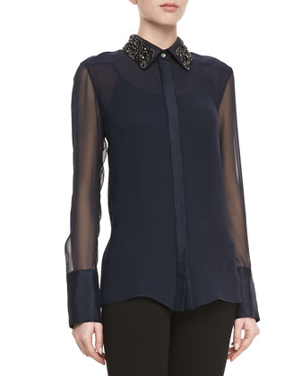 Long-Sleeve Embellished-Collar Blouse, Navy