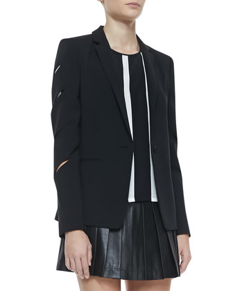 Brent Slash-Sleeve Blazer, Gizi Striped Silk Blouse & Brent Slash-Sleeve Blazer