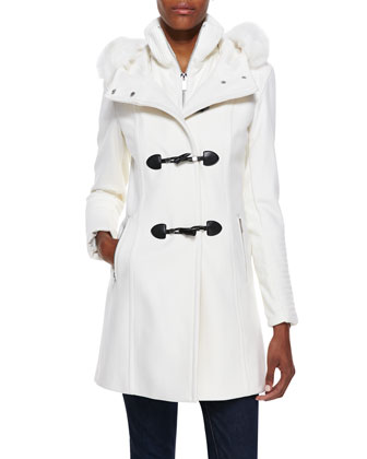 Toggle Coat with Fur Hood