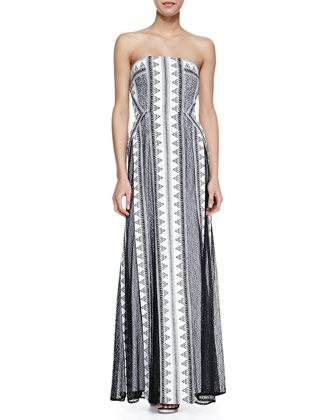 Kia Mixed-Print Strapless Gown