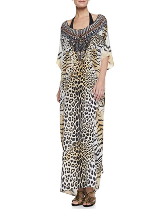 Scoop-Neck Caftan Coverup Dress, Jaguar