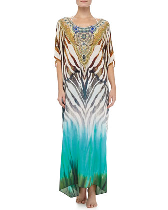 Scoop-Neck Caftan Coverup Dress, Animalia