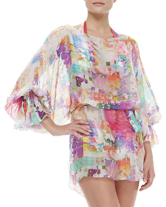 Les Pivoines Scoop-Neck Long-Sleeve Coverup