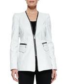 Tori Lambskin Zipper Jacket