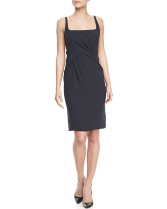 Scoop-Neck Sleeveless Dress, Navy